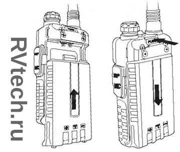 Радиостанция Baofeng UV-5R установка батареи