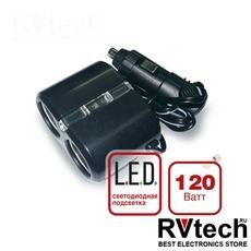 Разветвитель прикуривателя 12/24V (на 2 выхода) AVS CS204, Купить Разветвитель прикуривателя 12/24V (на 2 выхода) AVS CS204 в магазине РадиоВидео.рф, Разветвители, удлинители