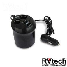 Разветвитель прикуривателя 12/24V (на 2 выхода + USB) AVS CS214U, Купить Разветвитель прикуривателя 12/24V (на 2 выхода + USB) AVS CS214U в магазине РадиоВидео.рф, Разветвители, удлинители
