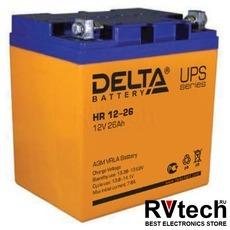 DELTA HR 12-26 - Аккумулятор для UPS. 12 V, 26 A, Купить DELTA HR 12-26 - Аккумулятор для UPS. 12 V, 26 A в магазине РадиоВидео.рф, Delta HR