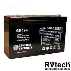 Аккумулятор General Security GS 6v 12ah, Купить Аккумулятор General Security GS 6v 12ah в магазине РадиоВидео.рф, General Security