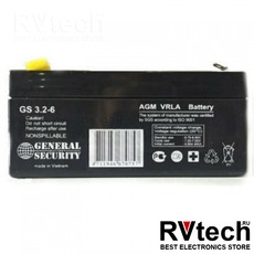 Аккумулятор General Security GS 6v 3,2ah, Купить Аккумулятор General Security GS 6v 3,2ah в магазине РадиоВидео.рф, General Security
