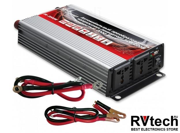 Инвертор автомобильный 12/220V AVS IN-2000W, Купить Инвертор автомобильный 12/220V AVS IN-2000W в магазине РадиоВидео.рф, Преобразователи напряжения