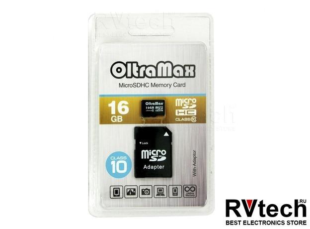 Карта памяти MicroSD 16 GB OltraMax Class 10 + SD адаптер, Купить Карта памяти MicroSD 16 GB OltraMax Class 10 + SD адаптер в магазине РадиоВидео.рф, Автоэлектроника