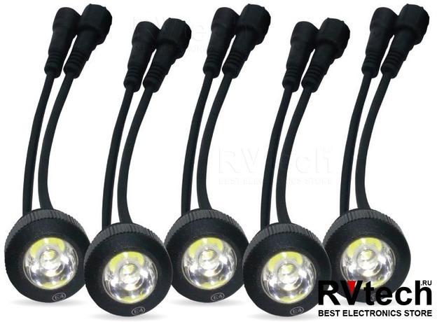 Дневные ходовые огни (DRL) AVS DL-5A (7.5W, 5 светодиодов х 2 шт.), Купить Дневные ходовые огни (DRL) AVS DL-5A (7.5W, 5 светодиодов х 2 шт.) в магазине РадиоВидео.рф, Светотехника