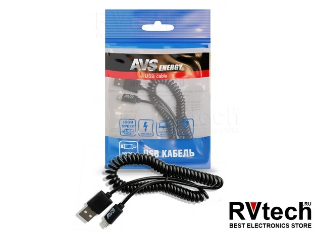 Кабель AVS для iPhone 5/6/7/8 (2м, витой) IP-52, Купить Кабель AVS для iPhone 5/6/7/8 (2м, витой) IP-52 в магазине РадиоВидео.рф, Автоэлектроника