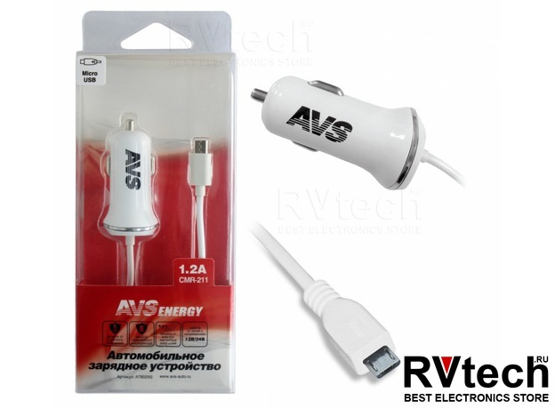 Автомобильное зарядное устройство с micro USB AVS CMR-211 (1,2А), Купить Автомобильное зарядное устройство с micro USB AVS CMR-211 (1,2А) в магазине РадиоВидео.рф, Автоэлектроника