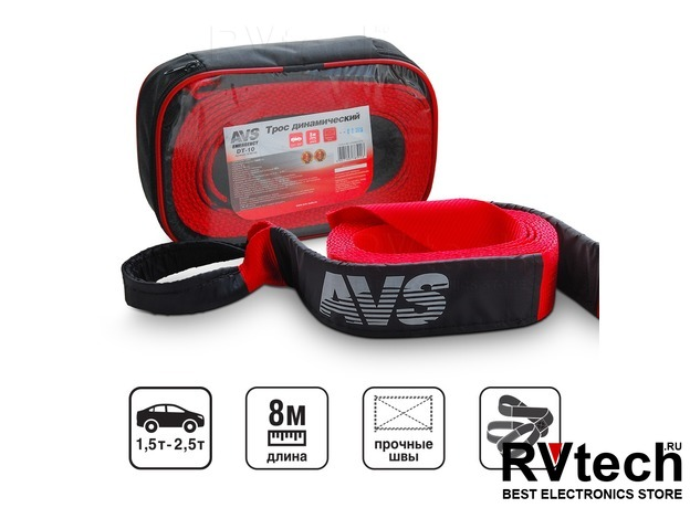 Трос (стропа) динамический AVS DT-10 (10т. 8м.) в сумке, Купить Трос (стропа) динамический AVS DT-10 (10т. 8м.) в сумке в магазине РадиоВидео.рф, Аварийные принадлежности