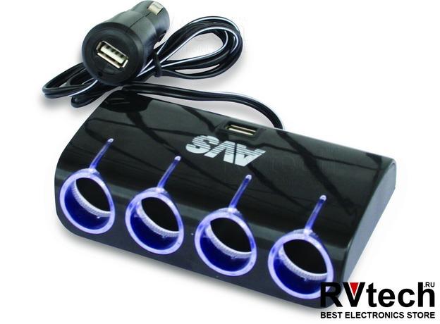 Разветвитель прикуривателя 12/24V (на 4 выхода + 2 USB) AVS CS410U, Купить Разветвитель прикуривателя 12/24V (на 4 выхода + 2 USB) AVS CS410U в магазине РадиоВидео.рф, Разветвители, удлинители