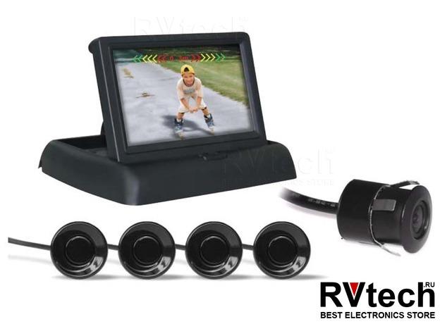Парктроник PS-842U (4 датчика+коннекторы, ЖК-Дисплей, камера заднего вида), Купить Парктроник PS-842U (4 датчика+коннекторы, ЖК-Дисплей, камера заднего вида) в магазине РадиоВидео.рф, Автоэлектроника
