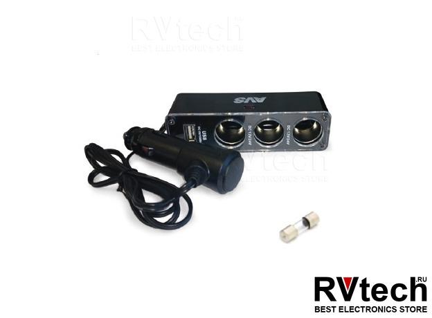 Разветвитель прикуривателя 12/24V (на 3 выхода + USB) AVS CS313U, Купить Разветвитель прикуривателя 12/24V (на 3 выхода + USB) AVS CS313U в магазине РадиоВидео.рф, Разветвители, удлинители
