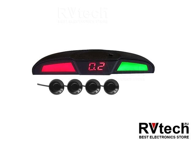 Парктроник PS-444U (4 датчика+коннекторы, голосовое, цветной светодиодный дисплей с цифровым табло), Купить Парктроник PS-444U (4 датчика+коннекторы, голосовое, цветной светодиодный дисплей с цифровым табло) в магазине РадиоВидео.рф, Автоэлектроника