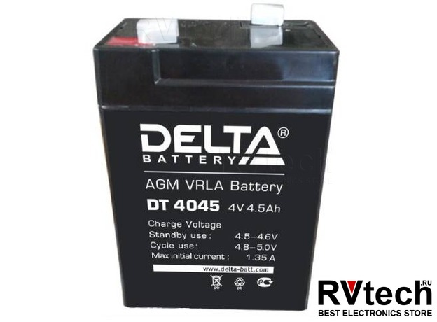 DELTA DT 4045 - Аккумулятор для UPS. 4 V, 4,5 A, Купить DELTA DT 4045 - Аккумулятор для UPS. 4 V, 4,5 A в магазине РадиоВидео.рф, Аккумулятор Delta DT